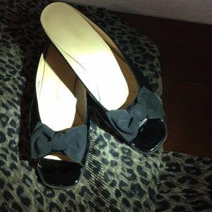 Salvatore Ferragamo Patent Leather Peep Toe Mules